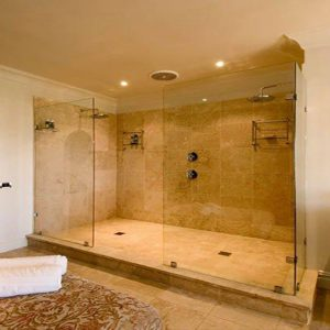 Centre walk in shower Two Screens with Glass Support Shelves
