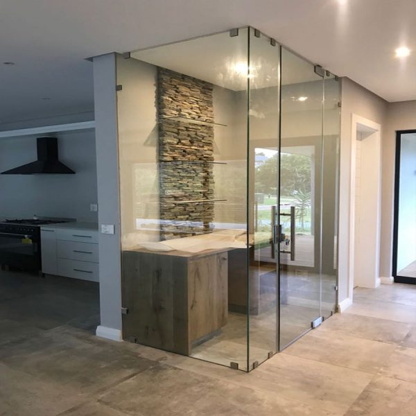 Floor to Ceiling Glass Wine Cellar