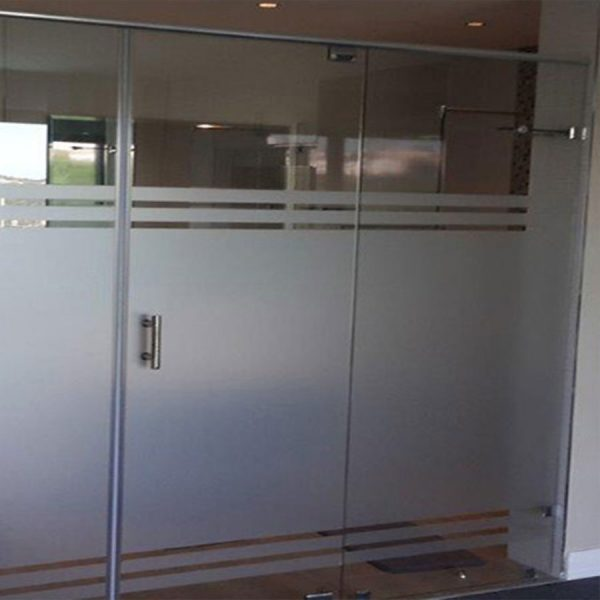 Frameless Pivot Door with In line Panel and Header Rail