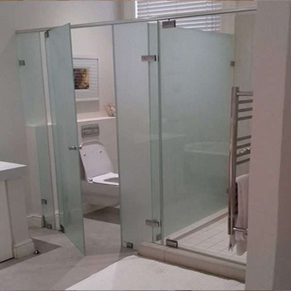 Frameless Sandblasted Toilet Enclosure and Shower Enclosure With Header Rail
