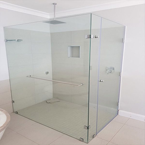 Frameless Shower Enclosure With 3 Hinges and Towel Rail